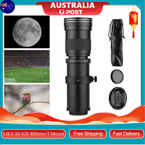 420-800mm f/8.3 - 16 Telephoto Zoom Camera Lens Manual Focusing w/ T Mount E4G6