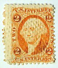 US Revenue Stamp #R15c – 1862-71 2-cent Internal Revenue Orange - Embossed