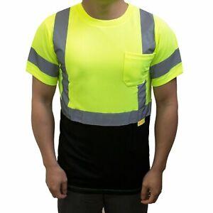 Hi Vis ANSI Class 3 Safety T Shirt Moisture Wicking Mesh Short Sleeve Reflective