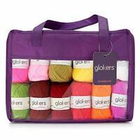 Glokers Multi-Color Crochet Yarn Set 24 Balls of Premium Acrylic Yarn 525 Yards