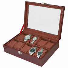 Watch Case | Watch Box | Watch Holder | Watch Organizer (Holds 10 Watches) - A&E