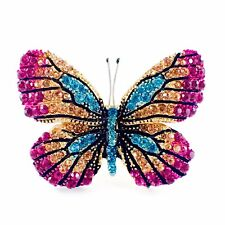 Crystal Gemstone Elegant Hot Pink B06 Usa Butterfly Brooch Pin use Swarovski