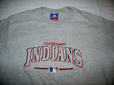 Cleveland Indians Embroidered Gray Champion T-Shirt Men Large Red/Blue Stitching
