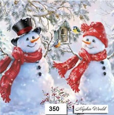 (350) TWO Individual Paper Luncheon Decoupage Napkins - CHRISTMAS, SNOWMAN, PAIR