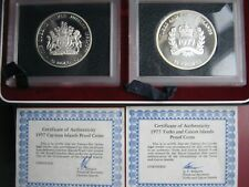 Turks & Caicos & Caymans 1977 Set Silver Proof Coins: $25 & Crowns COAs cased