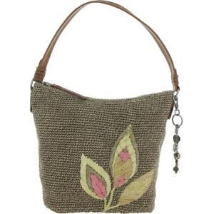 The Sak Womens Sequoia Taupe Faux Trim Knit Shoulder Handbag Medium BHFO 3976