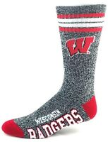 Wisconsin Badgers NCAA Heather Gray Red Four Stripe Quarter Socks