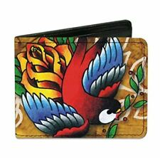 Tattoo Johnny Bird and Rose Artwork Design Buckle Down Bi-fold Wallet New Gift