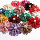 Heads Artificial Fabric Flowers Accessories With Pearl For Baby Headbands 30pcs