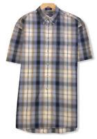 Pendleton Men's Sz Large Blue/Yellow Plaid Button Down Pocket Shirt 100% Cotton
