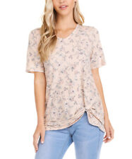 Floral T-Shirt Size 14 Ladies Womens Short Sleeve V Neck Top