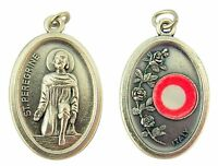 Silver Tone Catholic Saint Peregrine 3rd Class Cloth Relic Medal, 1 Inch