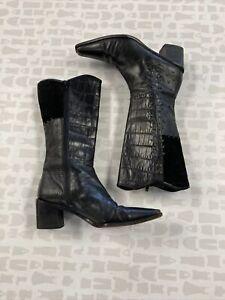 Stuart Weitzman Women Black Textured Patchwork Shenandoah Vintage Boot Size 6.5