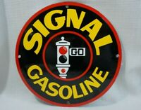 VINTAGE SIGNAL GASOLINE PORCELAIN SIGN GAS OIL SERVICE STATION PUMP PLATE RARE