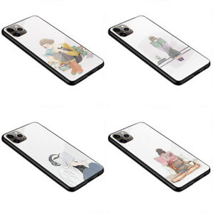 Glass Bumper Case Girl illustration Girl with book Reading girl L123 S8 S10 XR