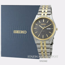 Authentic Seiko Core Men's Solar Stainless Steel Two Tone Watch SNE042