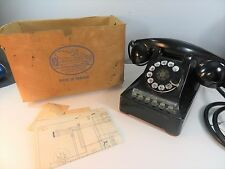 Vintage 1955 NORTHERN ELECTRIC 464 Rotary Telephone Phone & Schematic & Box