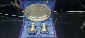 A Vintage Silver Plated Cruet Set With Tray In The Original Box.very ornate.