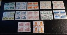 Brazil Scott's #s 2055//2073. MNH. Blocks of 4.Architecture.  Sal's stamp store.