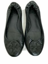 Tory Burch Womens Solid Black Genuine Leather Flats Shoes 7.5