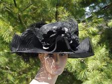 Oscar De La Renta Millinery Straw Wide Brim Ruffled Feathers Silk Flower Blk Hat