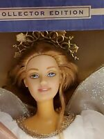 Mattel 2000 Holiday Angel Barbie Collector's Edition Blue Gold White Dress