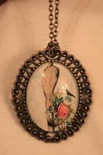 Swirl Rim Brasstone Wendy Patterson Dressmaker's Form Roses Cameo Necklace Pin