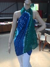 Sarong Cotton Bandhini Indian Tie Dyed Scarf Wall Hanging New Green White Blue