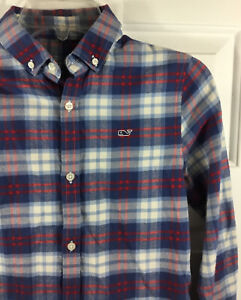 Vineyard Vines Boy's Plaid Flannel Whale Shirt Navy Blue Red White Size S (8-10)