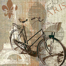 """Old Fashioned Bicycle Paper Luncheon Napkins 2x20 pcs 13""""x13"""" Vintage"""
