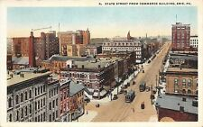 Erie Pennsylvania~State Street From Commerce Bldg~Schaal Furniture~Trolleys~1920