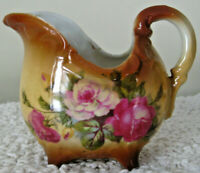 "Vintage 3"" Porcelain China Footed Creamer Pitcher Brown with Rose Floral Design"