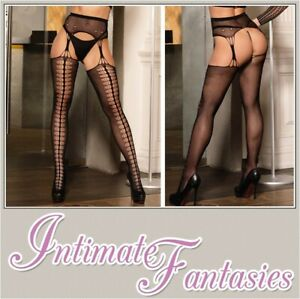 Sexy Black Fishnet Suspender Tights Size 8 10 12 14 16 18 20 22 Xl Plus Large