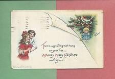 CHILDREN, DOLL, DECORATED TREE On A/S BRUNDAGE Vintage 1913 CHRISTMAS Postcard