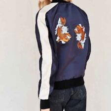 Urban Renewal Urban Outfitters Bomber Jacket Koi Embroidery Large Navy Blue NWOT