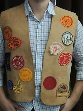 Mens Medium VTG tan deerskin buckskin leather vest YMCA Jamboree USA