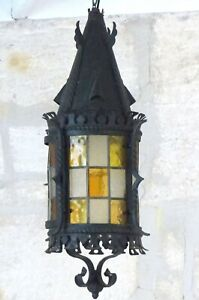 "24"" XL French Lantern Gothic Castle Iron 19TH Chandelier Ceiling stained glass"