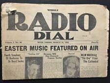 "1932 ""WEEKLY RADIO DIAL"" NEWSPAPER MAGAZINE - CROSLEY CINCINNATI WCKY WLW"