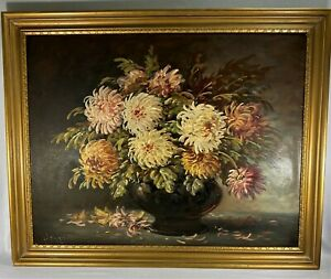 Oil Painting Listed: Gregory Hollyer 1871-1965 Mid Century Flowers  Orig Frame!