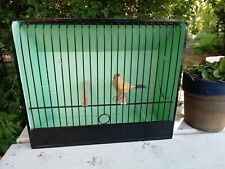 Vintage Painted French Country Style Bird Finch Cage Metal & Wood Carry Handle