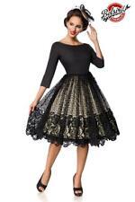 Rockabilly Kleid Premium Spitzen-Swingkleid 3/4 Arm schwarz 50er Jahre Gr. M