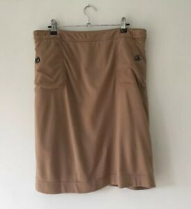 DAVID LAWRENCE - Women's Camel Coloured Knee Length Skirt - Size 12 - Pockets