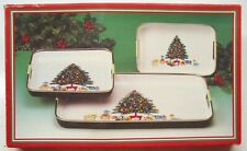 VINTAGE 3PC. LACQUERWARE CHRISTMAS TREE & GIFTS SERVING TRAY SET IN BOX