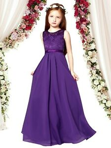 Junior Girl Flower Lace Maxi Dress for Wedding Bridesmaid Party Gown age 6-14Y