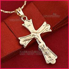 Jesus Men Lady Solid Pendant Necklace 9K Plain Champagne Gold Gf Cross Crucifix
