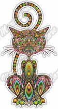 "Cat Pussycat Kitten Abstract Colorful Car Bumper Vinyl Sticker Decal 3""X6"""