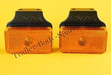 FREE UK Post - 2 x Amber Side Marker Lamps on Bracket - Trailers & Horsebox  #TR