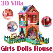DIY Puppenhaus Puppenstube Puppenvilla Barbiehaus Spielzeughaus mit Möbeln OVP