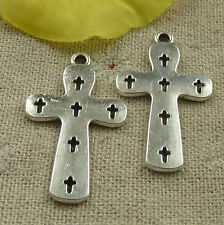 Free Ship 60 pieces tibetan silver cross charms 36x21mm #4527