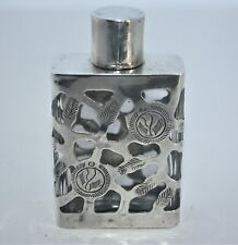Vintage Sterling 925 Silver Overlay Perfume Bottle Made in Mexico Eagle Stamp 53